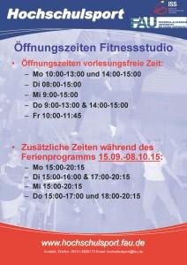 Öffnungszeiten Fitnessstudio 2015