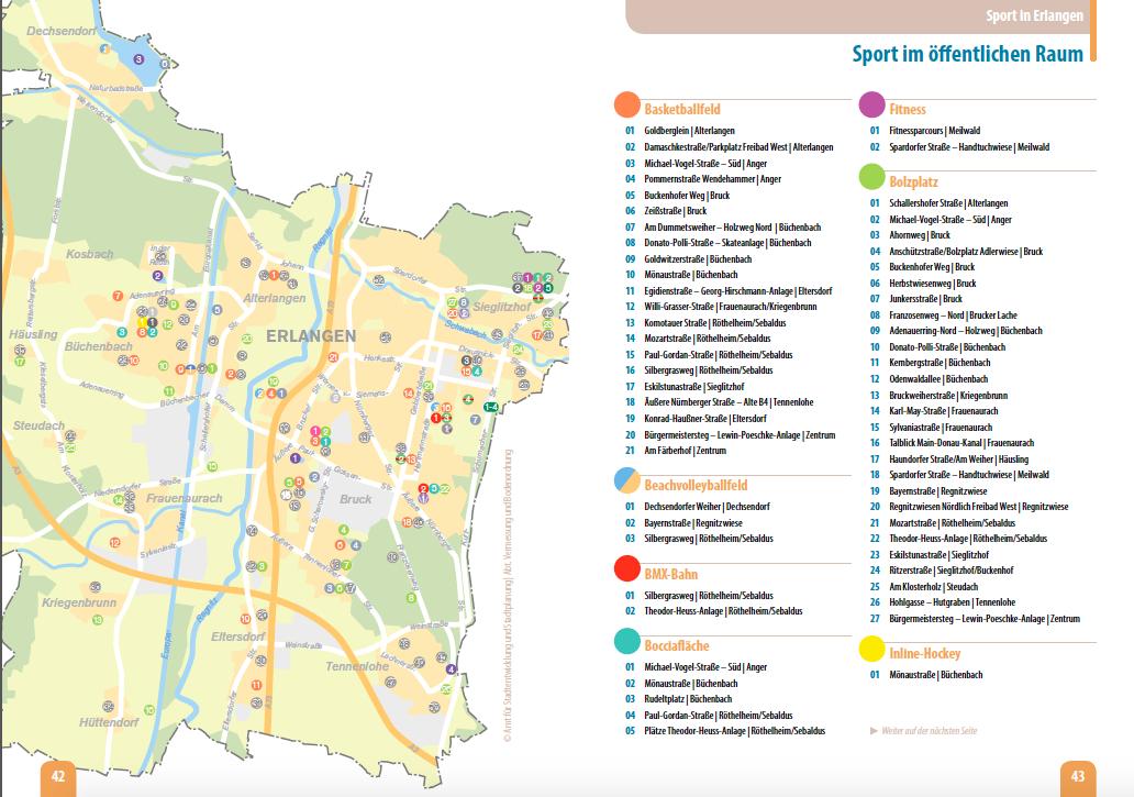 Öffentliche Sportanlagen in Erlangen